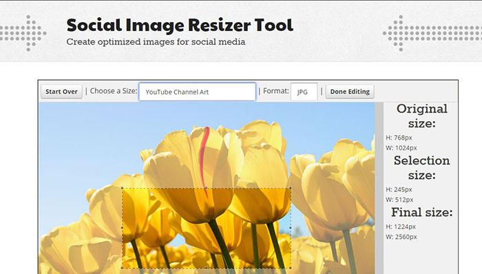 Socail Image Resizeer tool