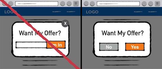 Заставьте пользователя принять или отвергнуть ваше предложение