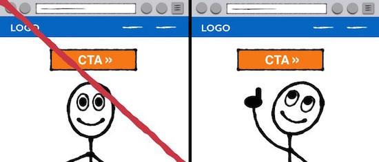 Ориентируйте взгляды в направлении кнопки