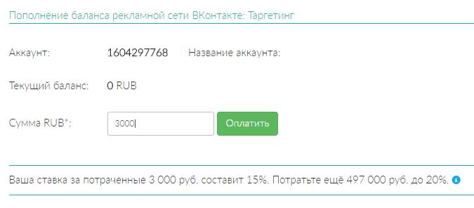 Пополнение РК Вконтакте